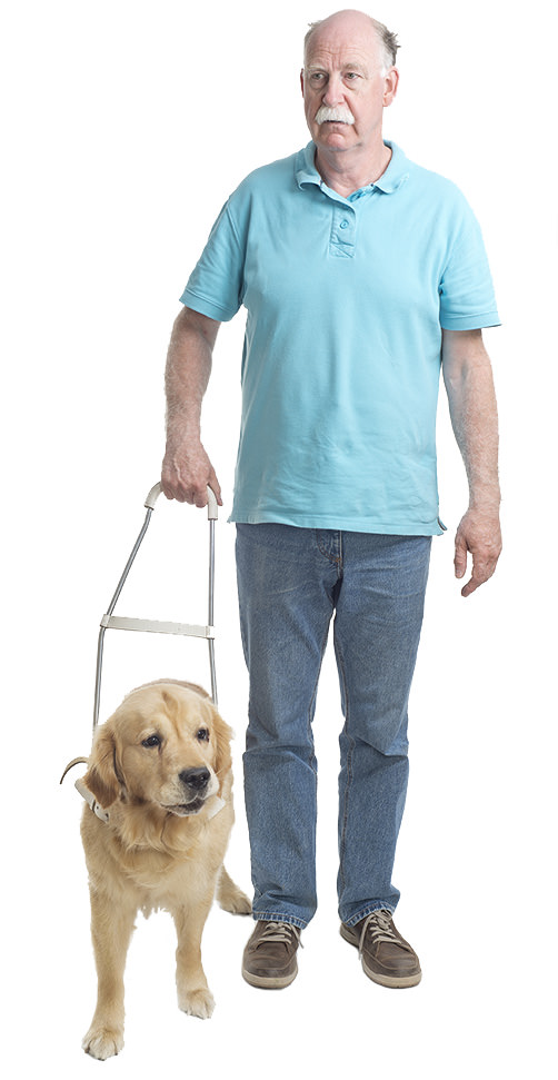 Blind man with guide dog representing disabled access problems.
