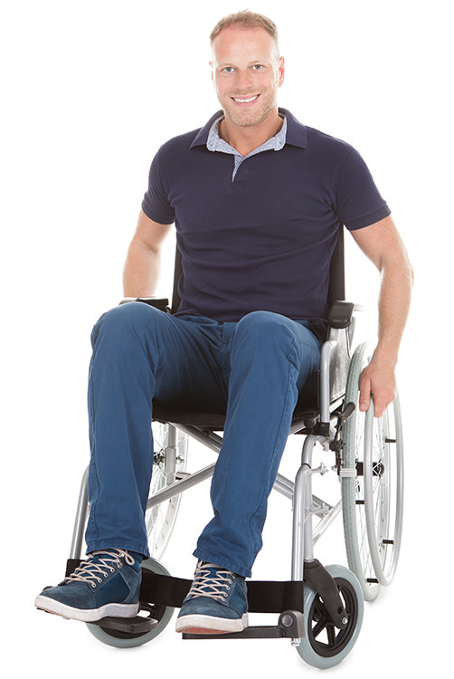 Man in wheelchair representing disabled access.
